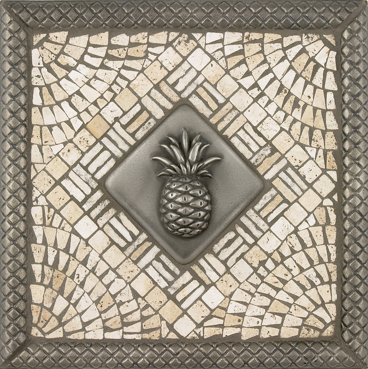 Metal pineapple mosaic tile backsplash medallion 12 inches pineapple mosaic tile backsplash medallion 12 inches dailygadgetfo Image collections