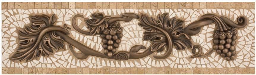 Travertine Stone Border : Metal and stone grand venito grape border quot
