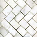 1 x 2 Marble Herringbone Tile in White Statuary Honed