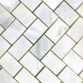 1 x 2 Marble Herringbone Tile in White Statuary polished