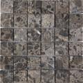 Dark emperador mosaic tumbled 2x2