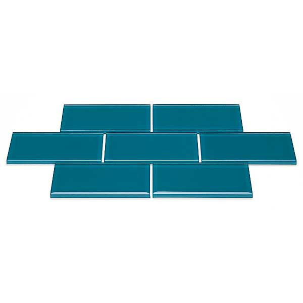 Blue River 3x6 subway glass tile Teal green dark