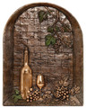 Window with wine metal backsplash mural
