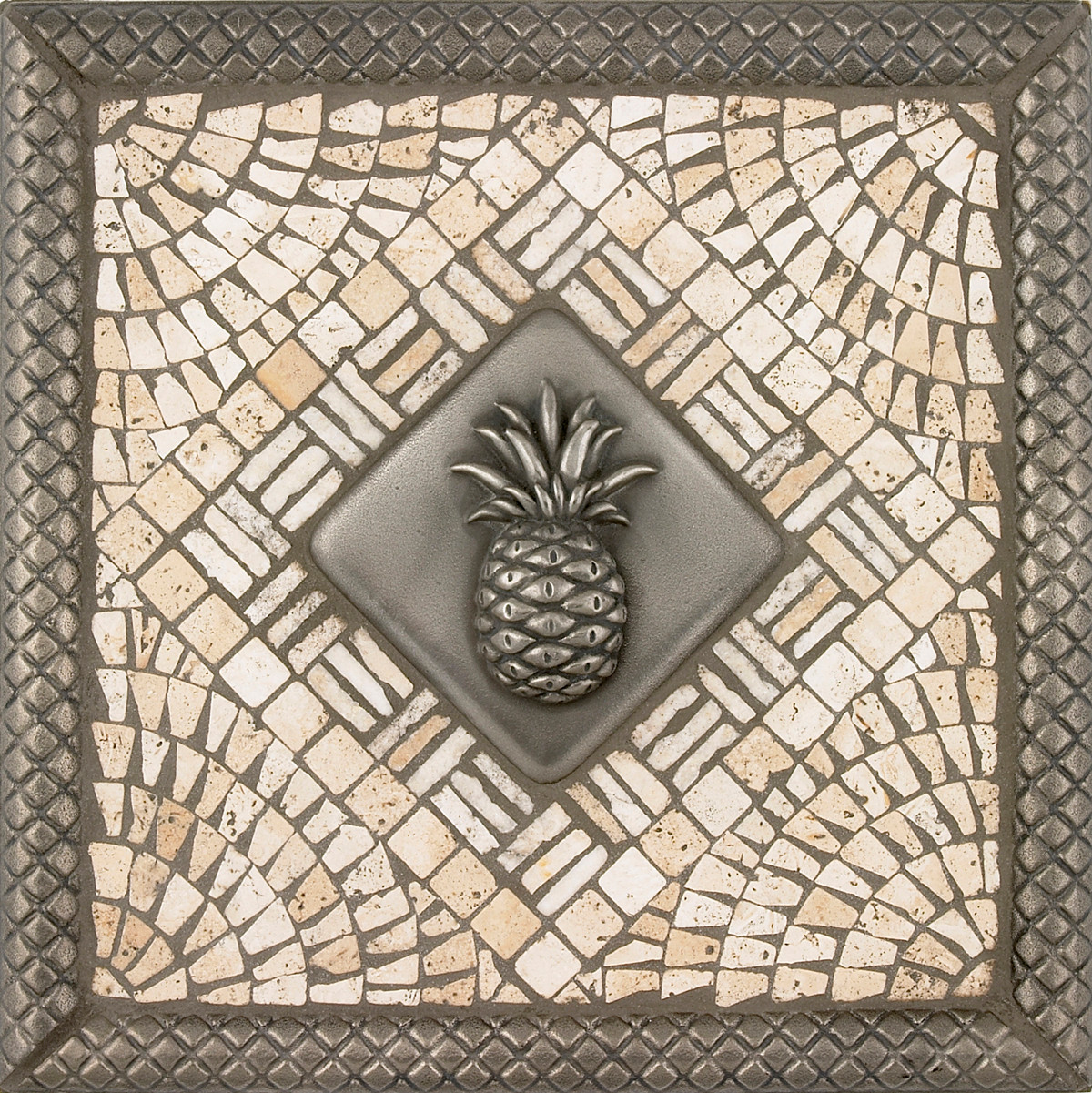 Metal Pineapple Mosaic Tile Backsplash Medallion 12 Inches