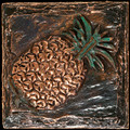 Metal decorative tile 4 x4 Pineapple