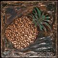 Metal decorative tile 4 x4 Pineapple