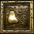 Metal decorative tile 4 x4 Pear & Grapes