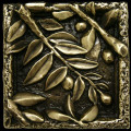 Metal decorative tile 4 x4 Olives Leaves