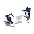 Sailfish pair with bait mosaic pool inlay small with shadow