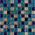 Seaside glass tile blend: White &amp; Sea Blue &amp; Cobalt Blue 