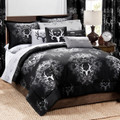 Michael Wadell Bone Collector Black & Gray 7 PC Comforter Set - Queen Size