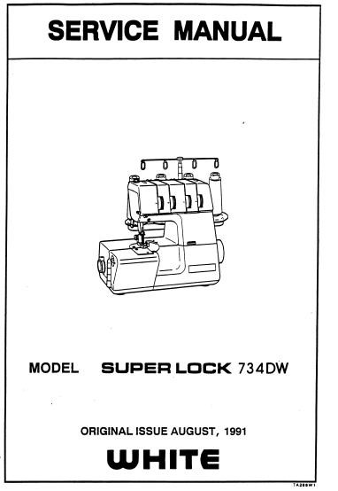 White Superlock 743DW Overlocker Serger Service Manual and