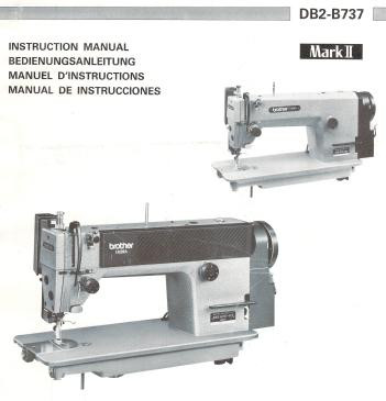 Brother DB2 B737 MK2 single needle straight stitch instruction manual with automatic thread trimmer EXEDRA