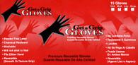 Get A Grip Reusable Black Latex Gloves 15PK