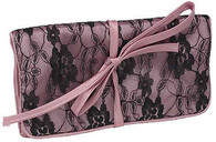 Jewelry Roll Dusty Pink Satin and Lace