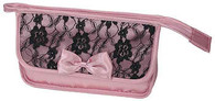 Travel/Cosmetics Bag Dusty Pink Satin and Black Lace