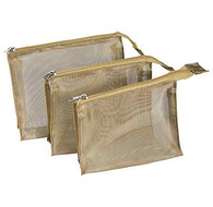 Gold Mesh Travel Cosmetics Bag