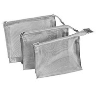 Silver Mesh Travel Cosmetics Bag