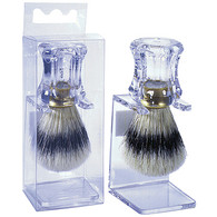 Clear Handle with Natural Bristle Shave Brush