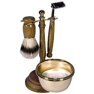 Wood and Brass Shave Set