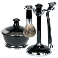 Black and Chrome Shave Set with Natural Bristle