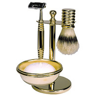 Solid Brass Shave Set with Natural Bristle