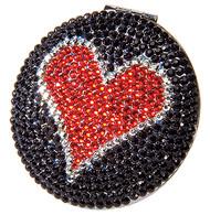 Compact Double Mirror Red Crystal Heart