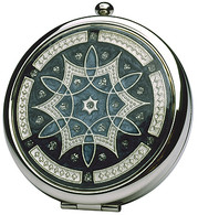 Compact Double Mirror Silver with Blue Enamel