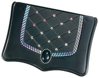 Compact Double Mirror Black with Rhinestones