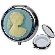 Pill Box Cameo Design Blue