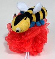 Nylon Mash Scrubber with Terry Covered Bumblebee Shaped Sponge