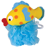 Nylon Mesh Scrubber with Terry Covered Fish Shaped Sponge