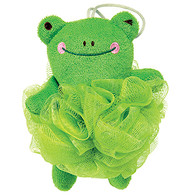 Nylon Mesh Scrubber with Terry Covered Frog Shaped Sponge