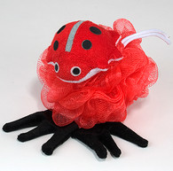 Nylon Mesh Scrubber with Terry Covered Ladybug Shaped Sponge