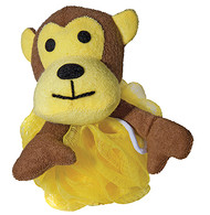 Nylon Mash Scrubber with Terry Covered Monkey Shaped Sponge