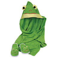 Hooded Cotton Terry Bath Towel Frog Design