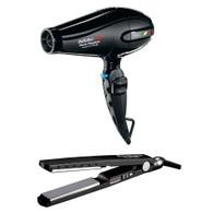 """Babyliss Pro Portofino 6600 Nano Titanium Hair Dryer Black Free Bonus Nano Titanium 1-1/4"""" Inch Straightener Flat Iron"""