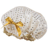 Fancy Shower Caps White with Gold Disk Design