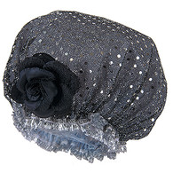 Fancy Shower Caps Black With Sparkle Design