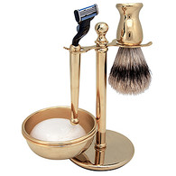 Kingsley 4PC Shave Set 24K Gold Plate with Mach III W/Soap Shave Set