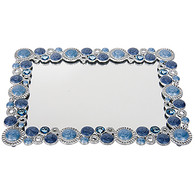 "Mirrored Vanity Tray Rectangular with Blue Stone Border 8.25"" X 6.25"""