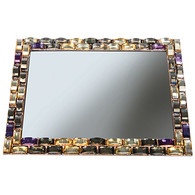 "Mirrored Vanity Tray Rectangular with Large Rhinestone Border 8"" X 6"""