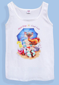HOT DOG COOL CAT TANK TOP WHITE