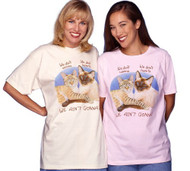 WE AINT GONNA LADIES CAT T-SHIRT PINK