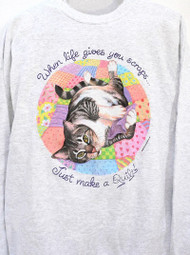 QUILT CAT SWEATSHIRT ASH