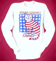 STARS  STRIPES CAT SWEATSHIRT WHITE