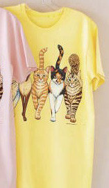 CATS COMING AND GOING DELUXE LADIES T-SHIRT YELLOW