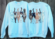 CATS COMING AND GOING DELUXE SWEATSHIRT LT BLUE