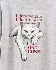 AINT GONNA WHITE CAT T-SHIRT ASH