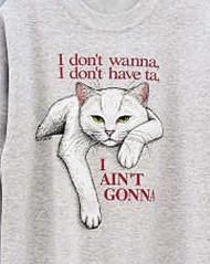 AINT GONNA WHITE CAT T-SHIRT ASH